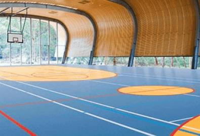 Application de plancher de terrain fermé de basketball