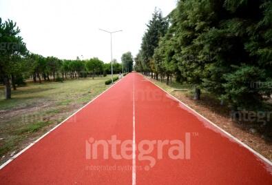 Application de plancher tartan de chemin de marche